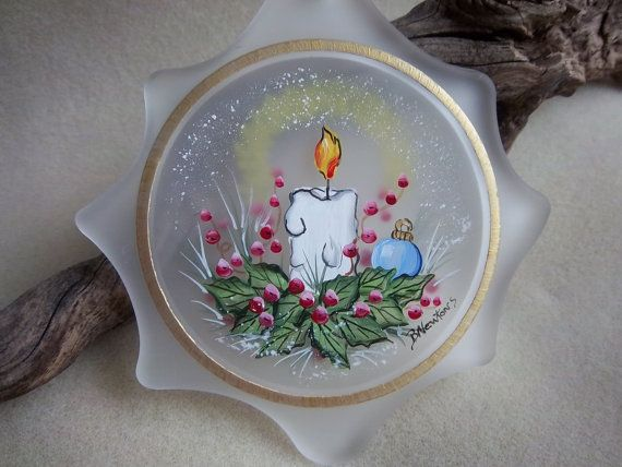 Christmas Ornament Candle Handpainted Sun by Barbarasartistry