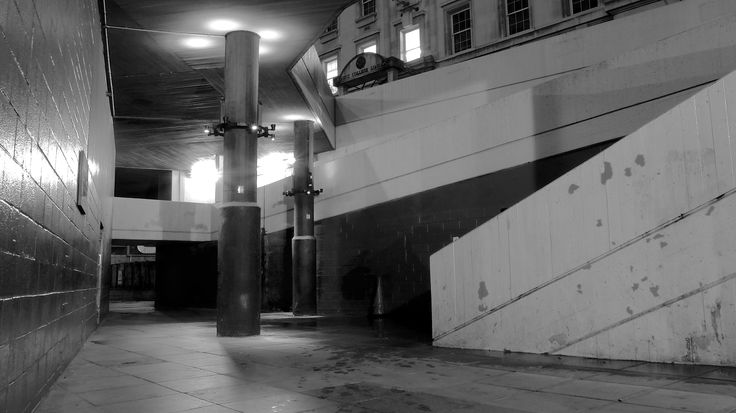 'Exit 4'  I really like the behaviour of shadow and shape in this image, that's what I was going for with a starting theme on passageways (Note the neat door way that the image flows toward). I hope to get better at taking pictures of shadow, this is just my best so far. The use of shadows in B&W at a Barbican exhibition motivated me.