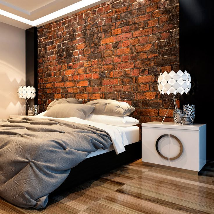 No, that's not an actual brick wall - just a realistic 3D wallpaper with this amazing modern theme!