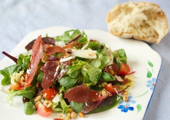 Crispy Parma ham, Pine nuts and Parmesan salad