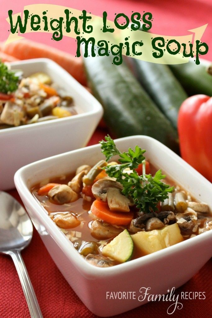 """Diet soups recipe Weight Loss Magic Soup """"2 cans chicken broth (you may use low-sodium) 3 cups V-8 juice (you can use low-sodium V8 or even tomato juice, homemade or store bought) 2 cans Italian diced tomatoes 1 small onion 2 cloves minced garlic 1 package sliced mushrooms 3 carrots, peeled and sliced 1 zucchini, diced 1 yellow squash, diced 2 cups fresh or frozen green beans 1 can kidney beans, drained and rinsed 3-4 cups shredded cabbage 1 tsp. Italian seasoning Salt and Pepper to taste"""""""