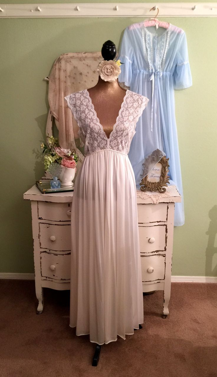 Romantic Nightie Set, Blue Chiffon Ivory Lace, Vintage Lingerie, Marie Antoinette, Elegant Peignoir, Long Nightdress Set, Gift For Her, M/ML by SownThreadsClothing on Etsy
