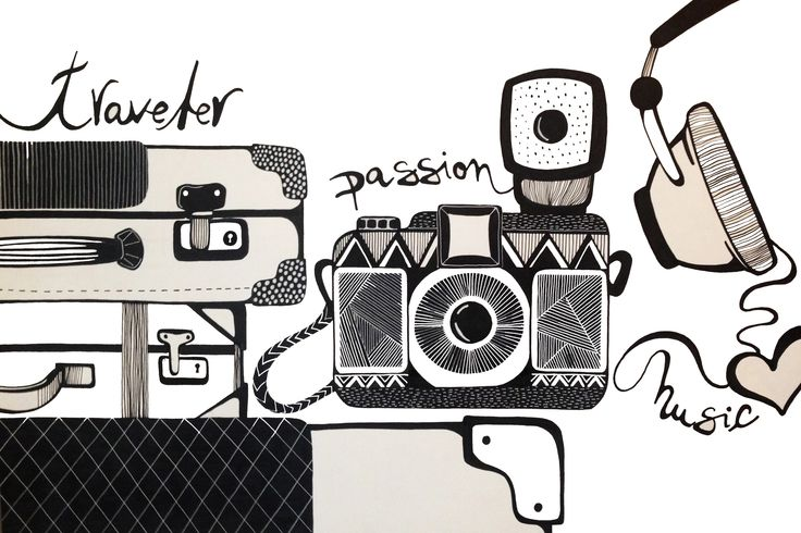 Diary of a Traveler | Sketching Illustration, graphicdesign, drawing suitcase, camera & headphones inspiration