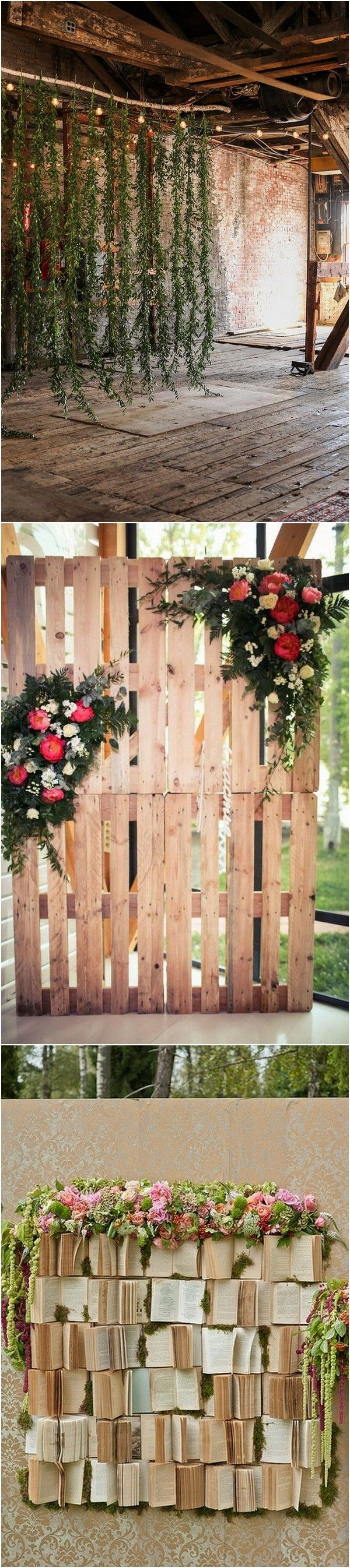 greenery garland chic rustic wedding backdrop ideas