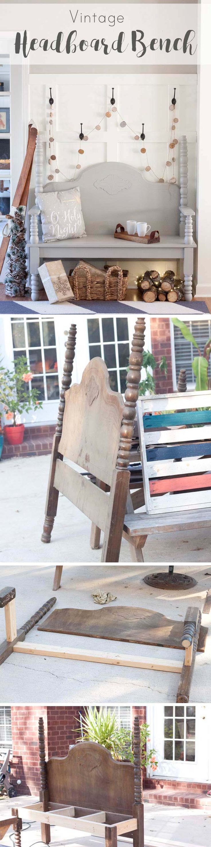 DIY Vintage Headboard Bench - Southern Revivals