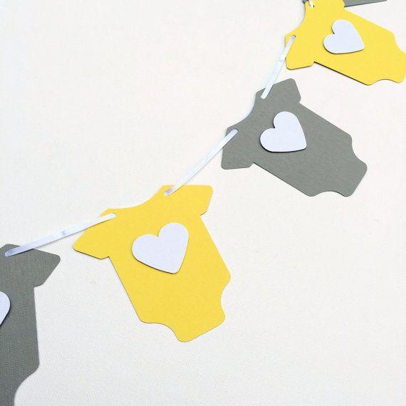 Onesie Baby Bodysuit/One piece shape Garland Yellow & Gray. Baby shower, bunting, banner, dessert table decoration. Gender neutral baby shower.  by MyPaperPlanet