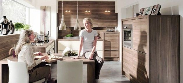 Contemporary Polished Wood Kitchen Design