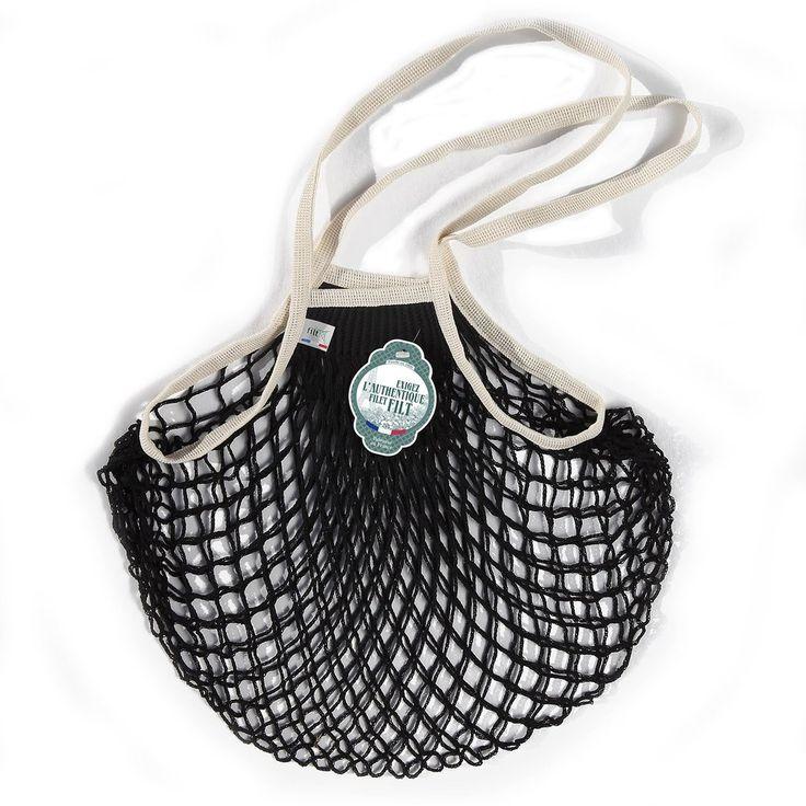 Filt French Net Market Bag (Long Handles) - Black & White