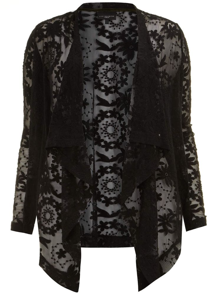 Live Unlimited Black Embroidered Waterfall Jacket