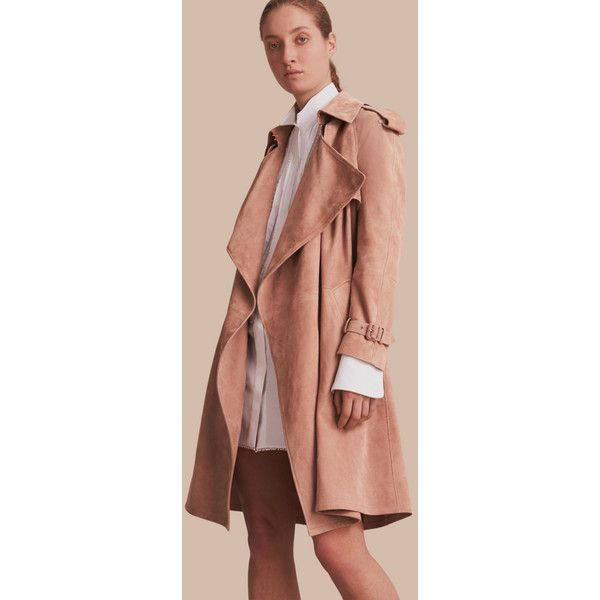 Burberry Suede Wrap Trench Coat ($3,995) ❤ liked on Polyvore featuring outerwear, coats, suede trench coats, suede coat, burberry coat, lapel coat and waterfall trench coat