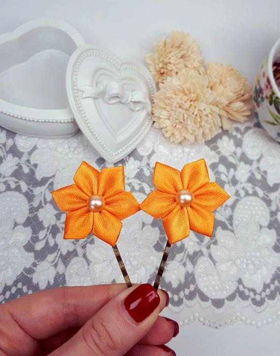 2 ribbon flower bobby pins orange hair clips satin ribbon