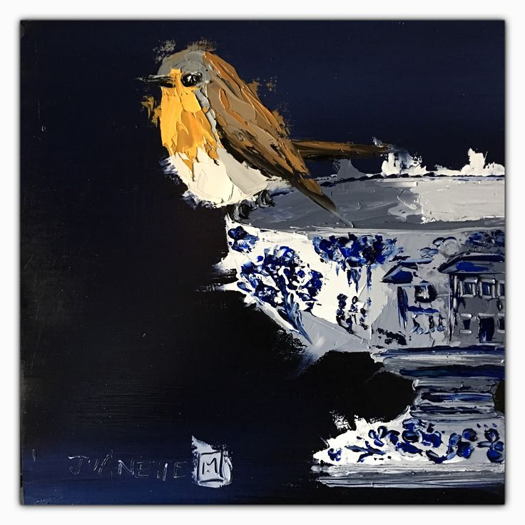 Delft collection 4 Oil impasto on board  By Juanette Menderoi