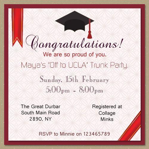 Cap trunk party invitation