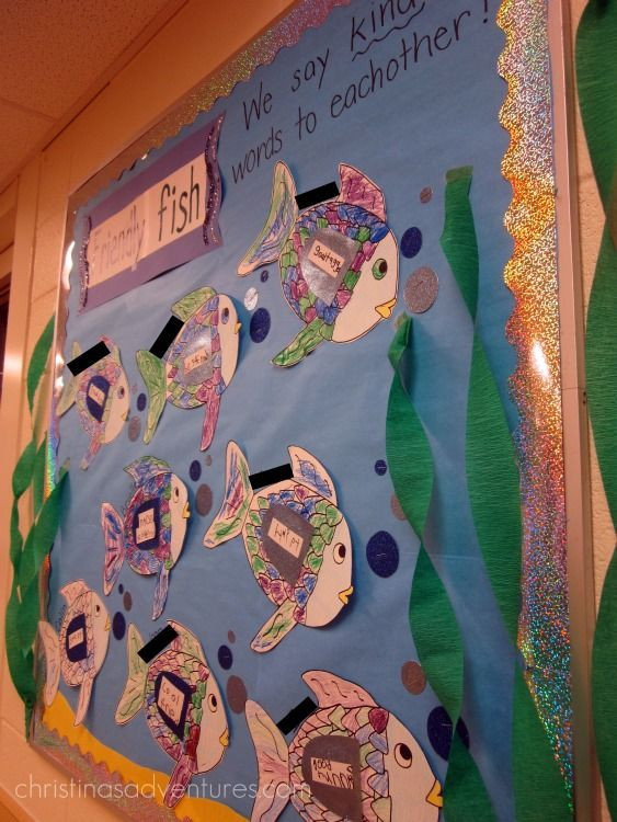 Lovely friendship idea using The Rainbow Fish book :) you can use this for adjectives putting kind words on your fish