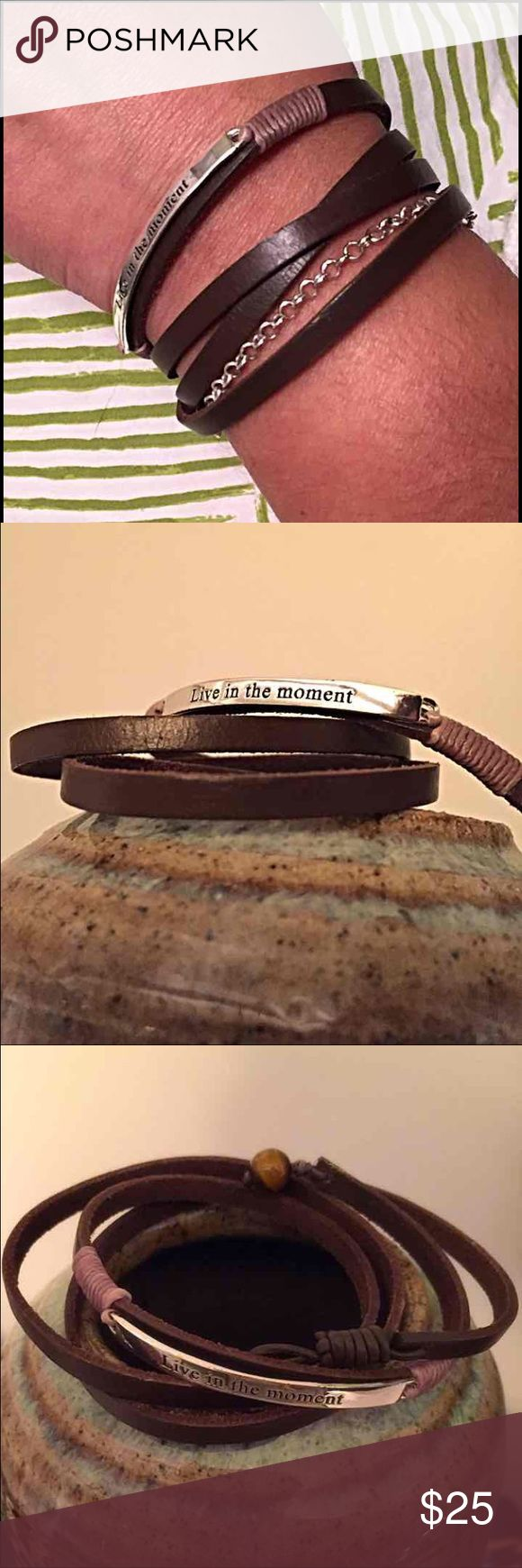 """'Live in the moment' Leather Wrap Bracelet Brown Leather Wrap Bracelet with Silver plate inscribed with """"Live in the moment"""" - Bead Loop closure - Length 29"""" - Wraps around my wrist 4 times - NWOT - I purchased at Kohl's a few years ago but have never worn it - Original Retail Price $50 Jewelry Bracelets"""