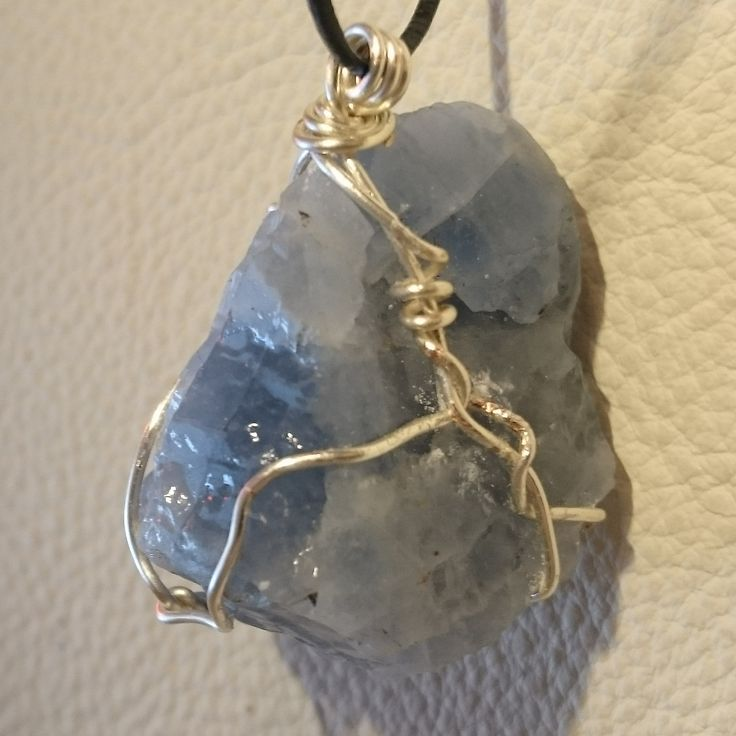 Blue Calcite Capture Pendant (2/2) #calm #crystal #innerpeace #wirewrap #necklace #ascensionenchanted #handmade #jewellery