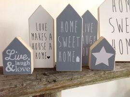Huisje L, grijs met tekst, home sweet home