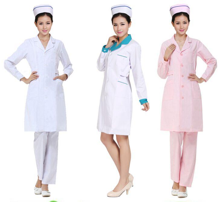 nurse uniform long sleeve coat cotton white coat nurse costume uniform  physician services lab coat white coat