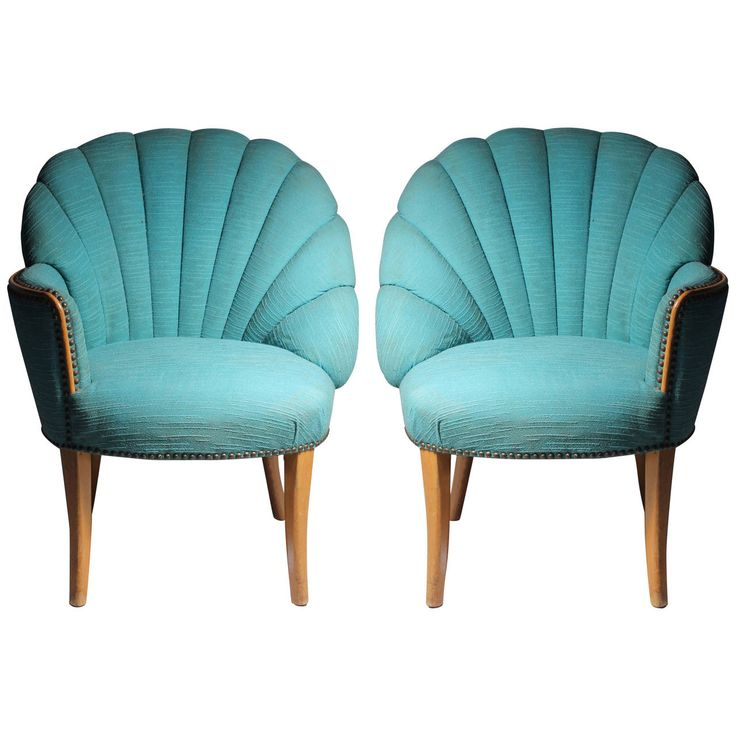 Vintage Asymmetrical Hollywood Regency Fan-Back Chairs - Grosfeld House | From a unique collection of antique and modern lounge chairs at https://www.1stdibs.com/furniture/seating/lounge-chairs/