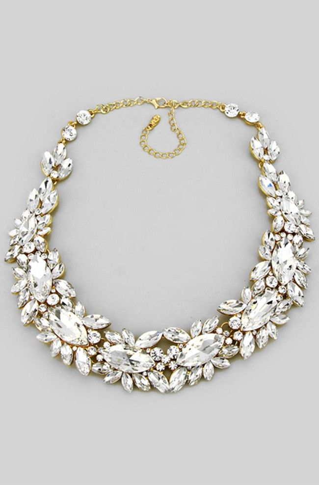 Crystal Elizabeth Necklace in Gold