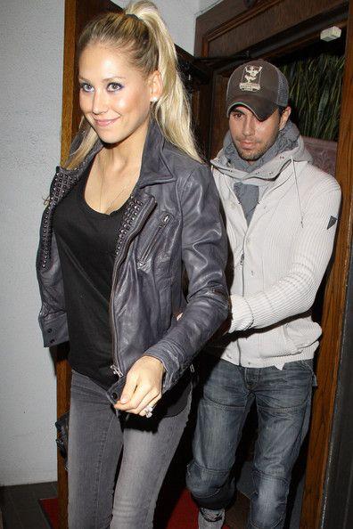 Enrique Iglesias wearing a Horiyoshi the Third Scarf while out with Anna Kournikova.