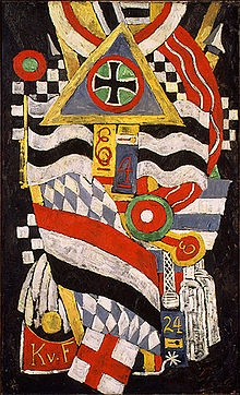 Marsden Hartley - Portrait of a German Officer, 1914. He painted his most startlingly advanced abstractions during the first years of World War I while living in Berlin. They reflect not only his revulsion at the wartime destruction, but also his fascination with the energy and pageantry that accompanied the carnage. Portrait of a German Officer, painted in November 1914, shows Hartley's assimilation of both Cubism and German Expressionism (the coarse brushwork and the dramatic color).