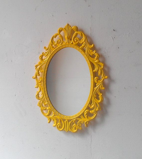 Yellow Wall Mirror in Vintage Brass Frame by SecretWindowMirrors, $55.00