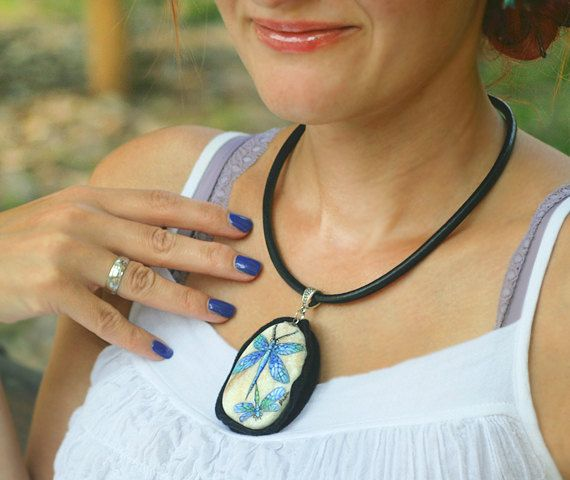 Stone necklace with two hand-painted blue dragonflies by SkadiaArt