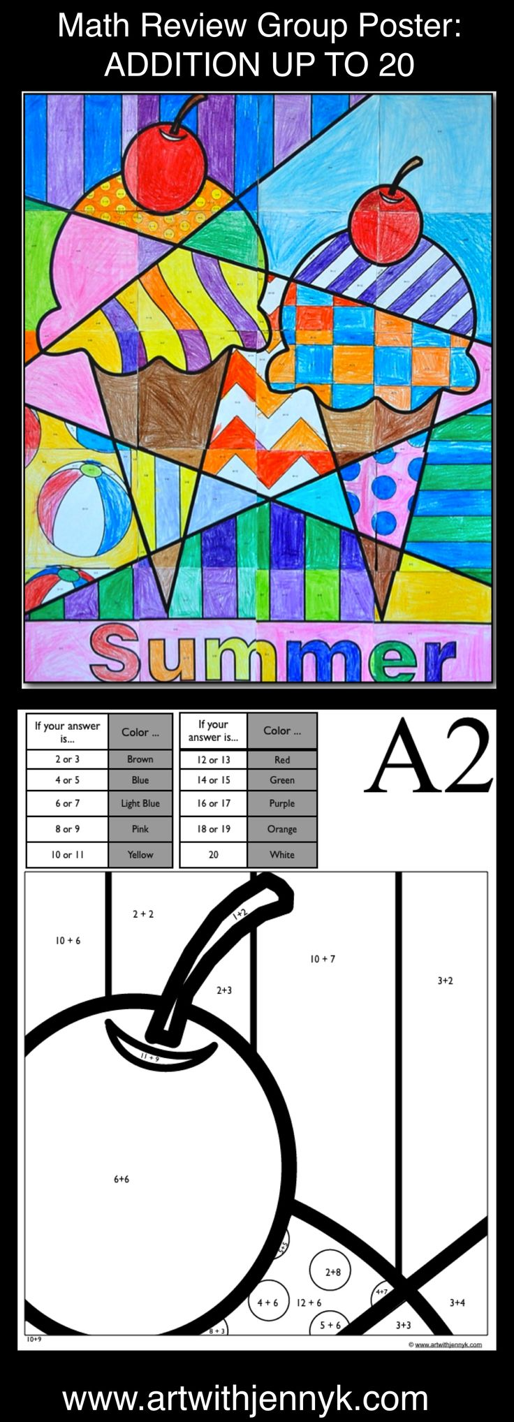 Use art to review math! The colors on every page of this large, classroom mosaic poster are assigned based on the answers to math problems written on each sheet. Addition up to 20 is reviewed on this poster. In the end you'll have a beautiful summer poster to display in your room or at your school!