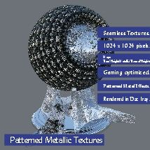 10 Patterned Metallic Textures with Texture Maps.  A set of 10 Patterned metallic textures that measure 1024 x 1024 and tile seamless. They include the following texture maps:  - 10 x Base Maps; - 10 x Bump Maps; - 10 x Normal Maps; - 10 x Height Maps; - 10 x Metallic maps.  The set of atterned metallic textures have been primeraly designed for gaming and texture artists but can be used in any other  project where you see fit. As an added bonus I have included the 10 textures with all maps…