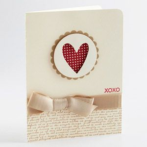 Heart Cutout Card This sweet card is all about the heart. Layer shapes onto the front of your card, cutting a heart from one of them. Back the heart cutout with patterned paper. Add script paper and a bow to finish the design.