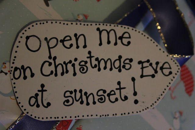 Christmas Eve Surprise Box.  Include:  new pajamas, Christmas movie, popcorn, mugs, hot chocolate, marshmallows, Christmas book. YES.
