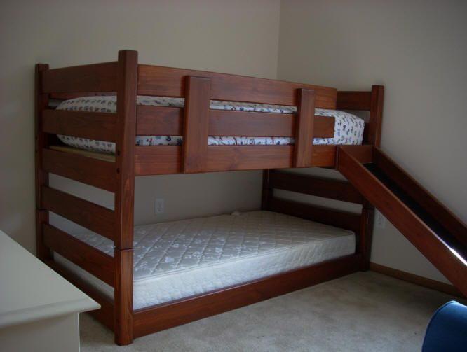 Solid Wood Twin Over Twin Mid Height Bunk Bed With Slide