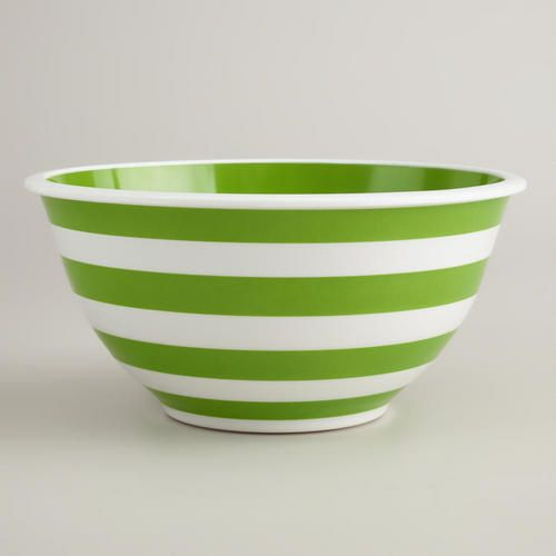 Green and White Striped Mixing Bowl at Cost Plus World Market >> #WorldMarket #SummerFun