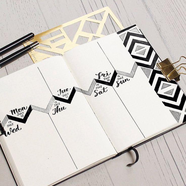 Bullet journal weekly layout,  geometric designs.  | Jayden's Apple