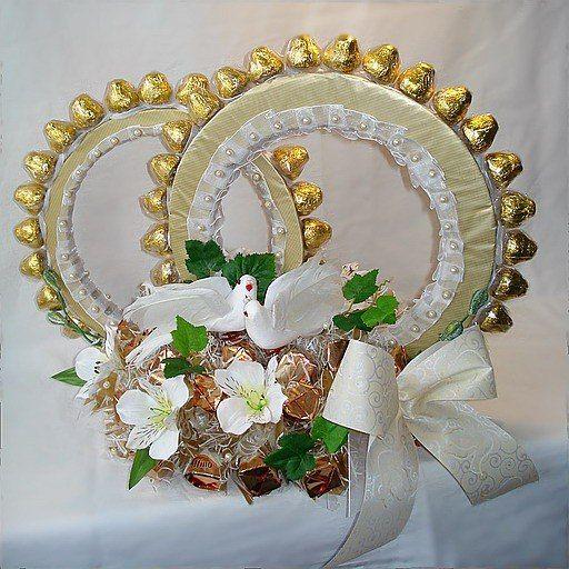 поделки из конфет на свадьбу   15 фотографий