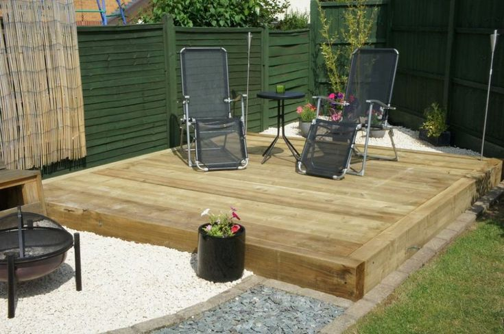 Railway sleepers used as decking