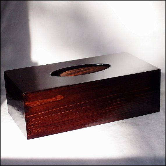 Varnished Wooden Tissue Box by GeoSpyorg on Etsy