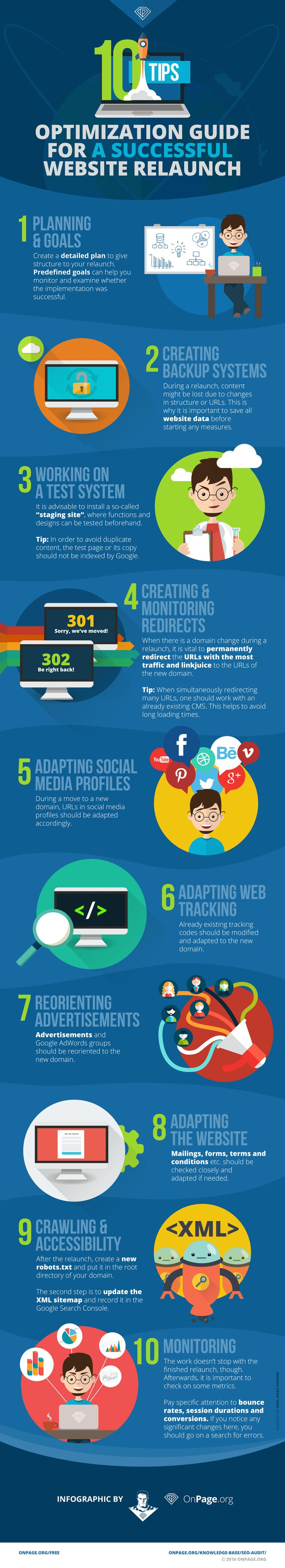 From exact planning, to tracking, to detailed monitoring – our latest infographic helps you step by step on your way to the perfect website relaunch. If the domain changes, it is especially important that those URLs showing the most traffic or those with a lot of link power are permanently redirected to the URLs of the new domain. Finally, a relaunch does not only involve changes on the website but also adapting the social media profiles and tracking codes.