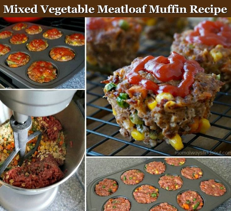 Mixed Vegetable Meatloaf Muffin Recipe food baking recipe recipes dinner recipes meat recipes food tutorials food tutorial meatloaf
