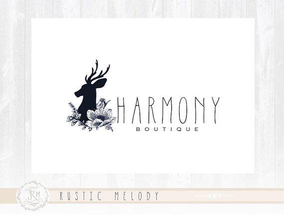 Logo rústico diseño ciervos insignia Boutique por RusticMelody1
