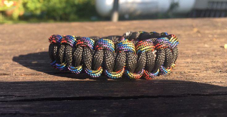 1 Mehrfarbiges Clip-Seil-Armband mit Clipverschluss / Rope Survival-Armband, Tribal, Hippie, Boho, Ethno