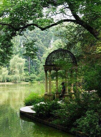 Serene garden with waterfront gazebo ~