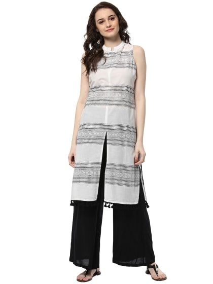 7bf4d01adfe7 Cotton White Color Kurta And Black Palazzo Set | Only on  saliyamohit.wooplr.com | Best Kurtis and Suits Online