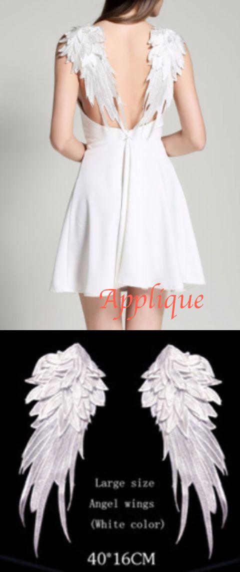 white angel wings appliqué DIY bohemian wedding dress