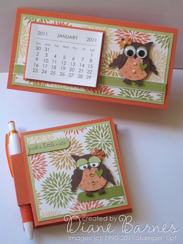 Stampin Up owl punch mini calendars post it note holders & link to tutorial - colour me happy