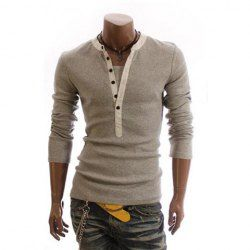 $10.32 Men's Cotton T-Shirt With Korean Casual Slimming Style Faux Twinset Solid Color Long Sleeves Design