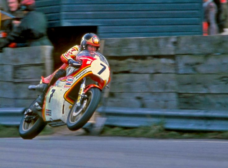 The Magnificent Seven - racing god Barry Sheene getting airborne on his Heron Suzuki RG500