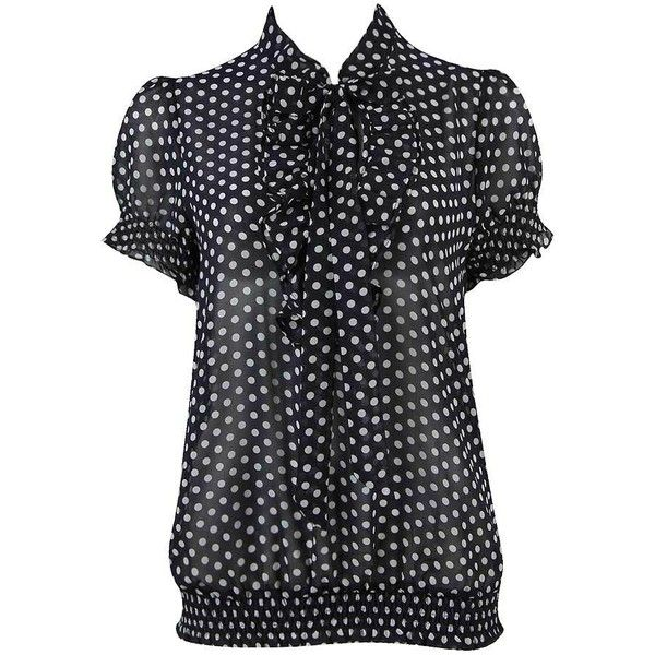 Polka Dot Chiffon Top ($16) ❤ liked on Polyvore featuring tops, dressy, forever 21 tops, smock top, dot top, short sleeve tops and button top