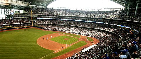 Miller Park – where a fan upon encountering the brick facade and structural elegance can't help but feel the reincarnation of baseball's romantic past. Intimate proximity to the players, natural grass, and a unique configuration separates this ballpark from any in the world.